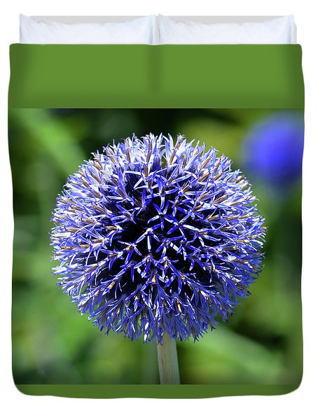 Duvet Cover featuring the photograph Blue Allium by Terence Davis