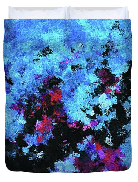 Duvet Cover featuring the painting Blue And Black Abstract Wall Art by Ayse Deniz