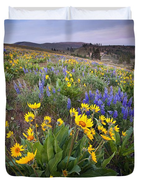 Blue And Gold Duvet Cover by Mike  Dawson