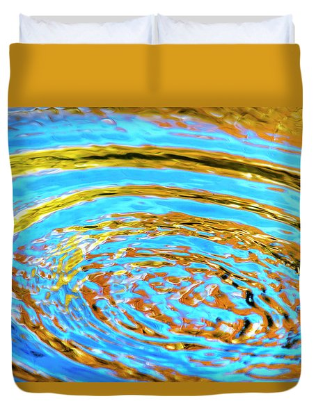 Blue And Gold Spiral Abstract Duvet Cover by Christina Rollo