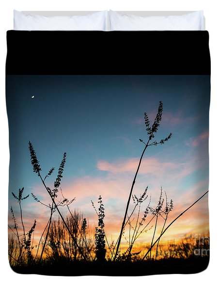 Blue And Gold Sunset Duvet Cover