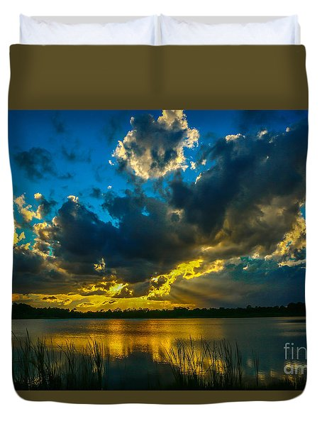 Blue And Gold Sunset With Rays Duvet Cover by Tom Claud