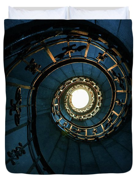 Duvet Cover featuring the photograph Blue And Golden Spiral Staircase by Jaroslaw Blaminsky