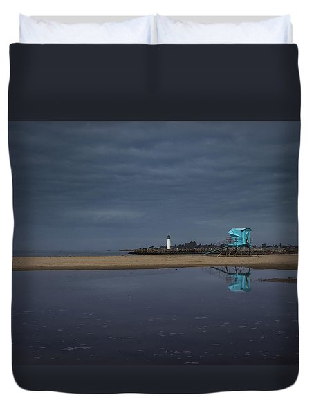 Duvet Cover featuring the photograph Blue And Grey by Lora Lee Chapman