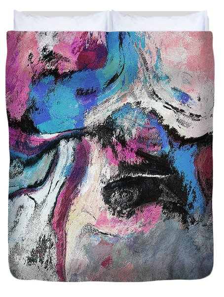 Duvet Cover featuring the painting Blue And Pink Abstract Painting by Ayse Deniz