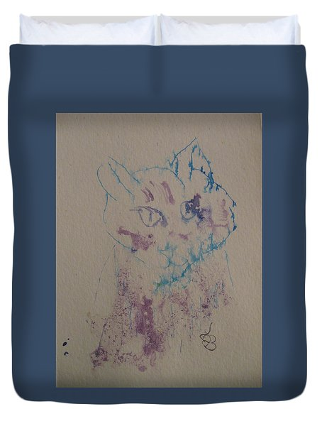 Duvet Cover featuring the drawing Blue And Purple Cat by AJ Brown