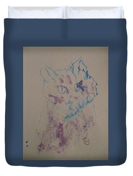 Blue And Purple Cat Duvet Cover
