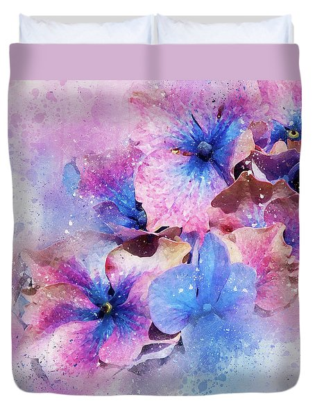 Blue And Purple Flowers Duvet Cover