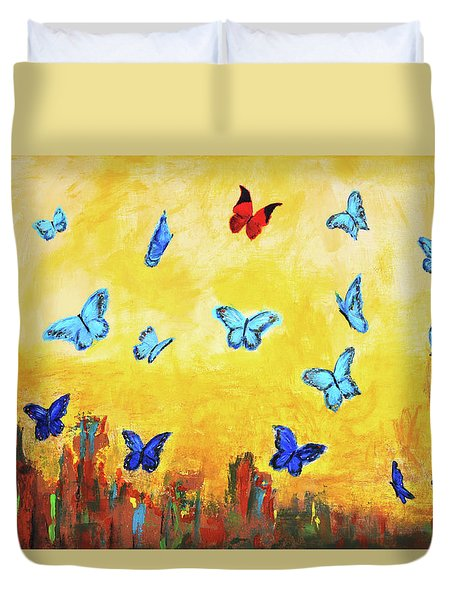Blue And Red Butterflies Duvet Cover