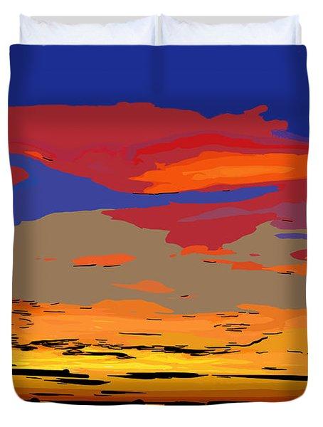 Blue And Red Ocean Sunset Duvet Cover