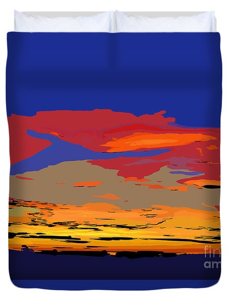 Blue And Red Ocean Sunset Duvet Cover