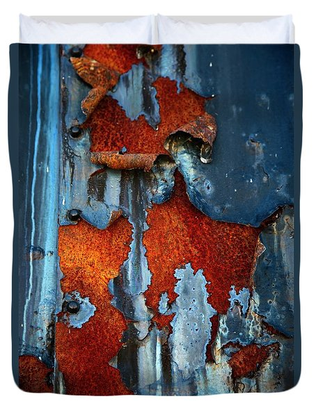 Duvet Cover featuring the photograph Blue And Rust by Karol Livote