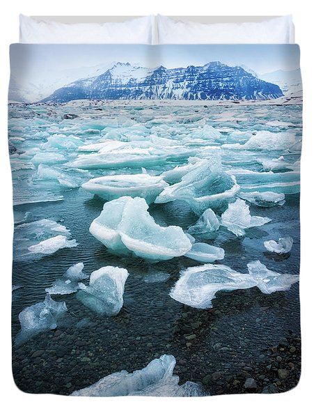 Blue And Turquoise Ice Jokulsarlon Glacier Lagoon Iceland Duvet Cover by Matthias Hauser
