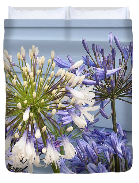 Blue And White Agapanthus Duvet Cover