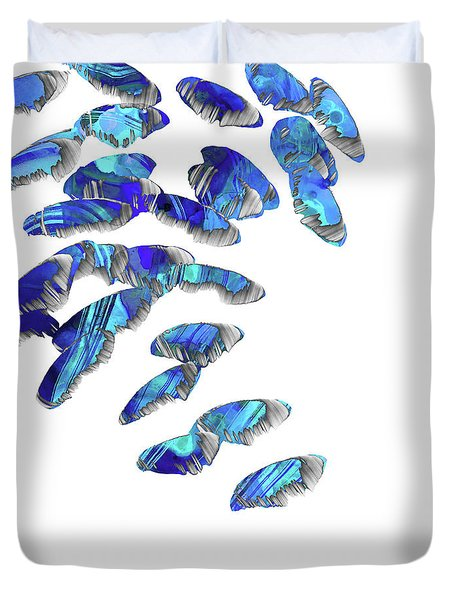 Blue And White Art - Falling 2 - Sharon Cummings Duvet Cover