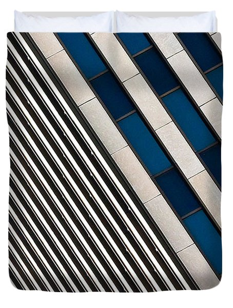 Blue And White Diagonals Duvet Cover