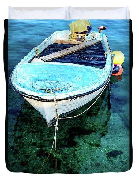 Blue And White Fishing Boat On The Adriatic - Rovinj, Croatia Duvet Cover
