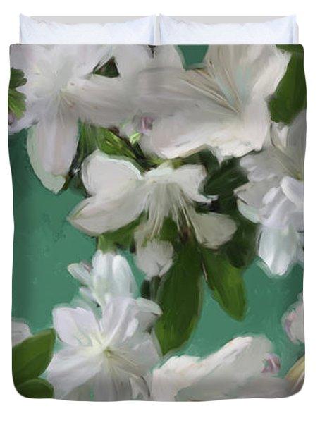 Blue And White Flower Art  Duvet Cover