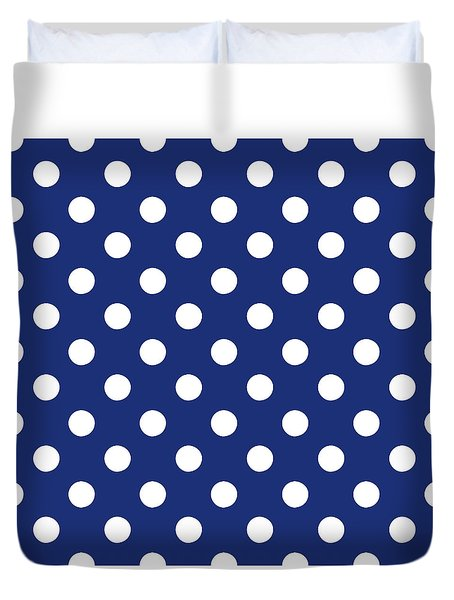 Duvet Cover featuring the mixed media Blue And White Polka Dots- Art By Linda Woods by Linda Woods