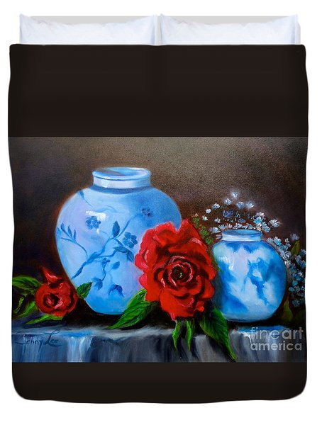 Duvet Cover featuring the painting Blue And White Pottery And Red Roses by Jenny Lee