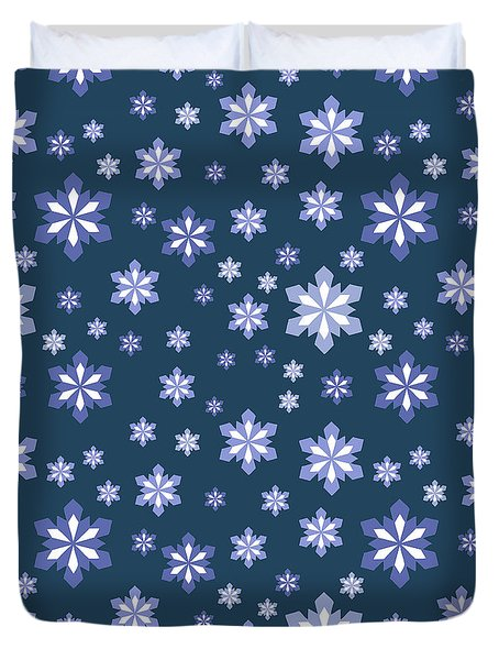 Blue And White Snowflake Pattern Duvet Cover