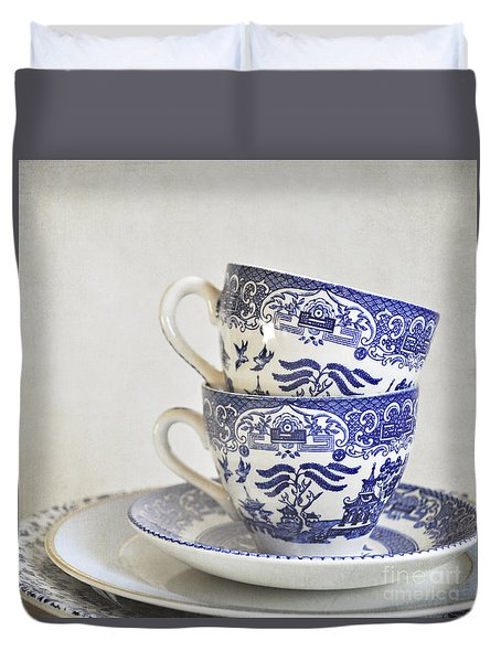 Blue And White Stacked China. Duvet Cover