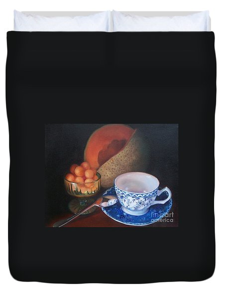 Blue And White Teacup And Melon Duvet Cover