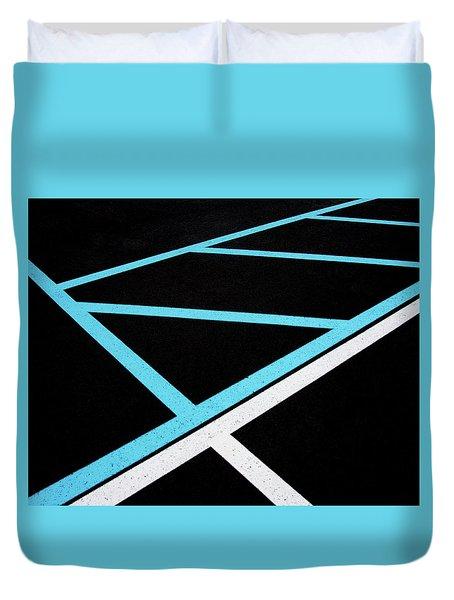 Blue And White Traffic Line Neighbors Duvet Cover by Gary Slawsky