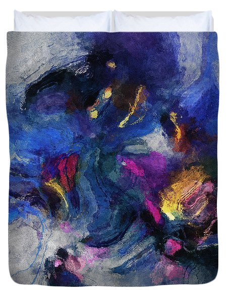 Duvet Cover featuring the painting Blue And Yellow Minimalist / Abstract Painting by Ayse Deniz