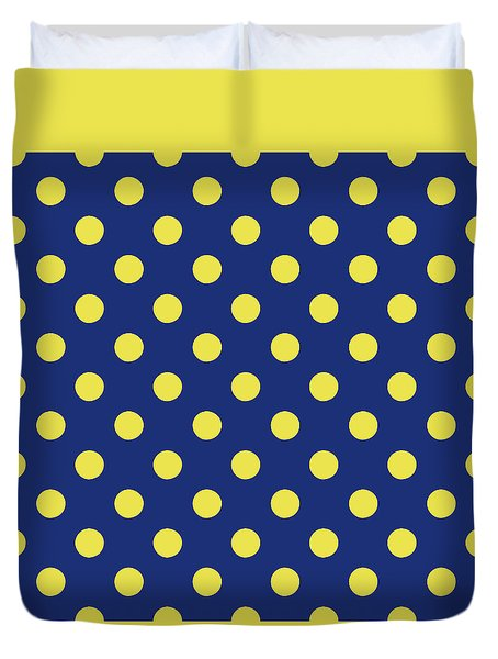 Duvet Cover featuring the mixed media Blue And Yellow Polka Dots- Art By Linda Woods by Linda Woods