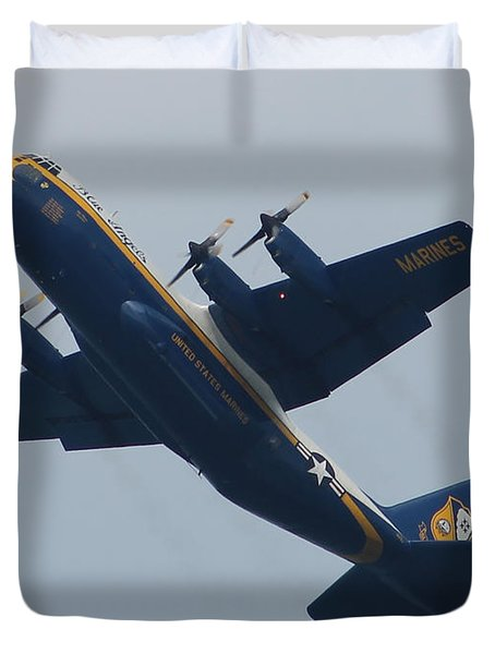 Duvet Cover featuring the photograph Blue Angel's B-25 by Robert Banach