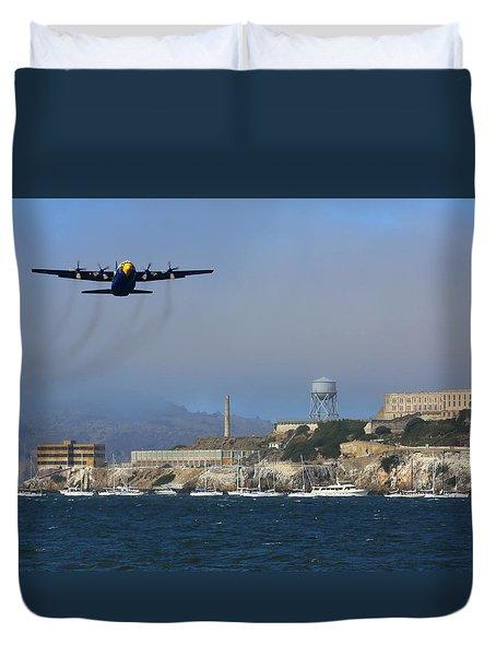 Duvet Cover featuring the photograph Blue Angels C130 Fat Albert Passes Alcatraz by John King