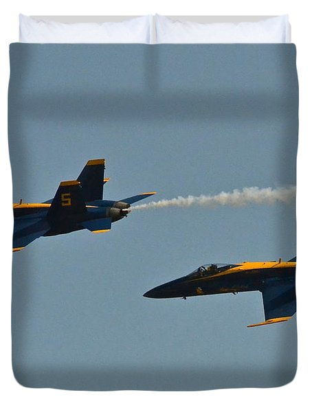 Duvet Cover featuring the photograph Blue Angels by Carol  Bradley