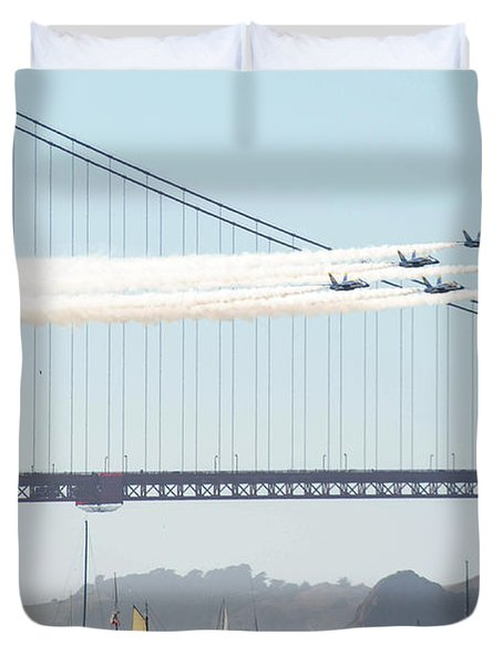 Blue Angels Fly Over The San Francisco Bay Duvet Cover