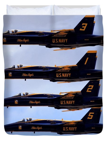 Duvet Cover featuring the photograph Blue Angels Formation IIi by Gigi Ebert