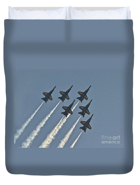 Duvet Cover featuring the photograph Blue Angels II by Carol  Bradley