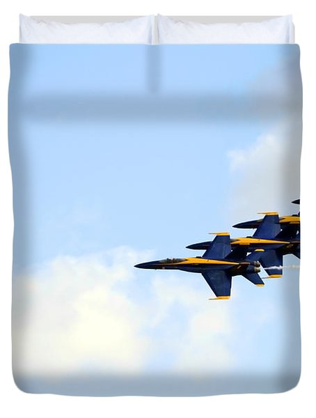 Duvet Cover featuring the photograph Blue Angels In Formation II by Gigi Ebert