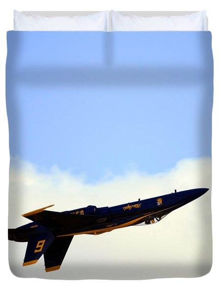 Duvet Cover featuring the photograph Blue Angels Maneuver by Gigi Ebert