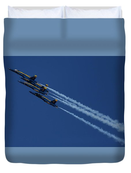 Duvet Cover featuring the photograph Blue Angels Over San Francisco Bay by John King