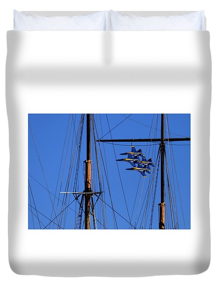 Duvet Cover featuring the photograph Blue Angels Pass Behind Masts Of The Balclutha At Hyde Street Pier by John King