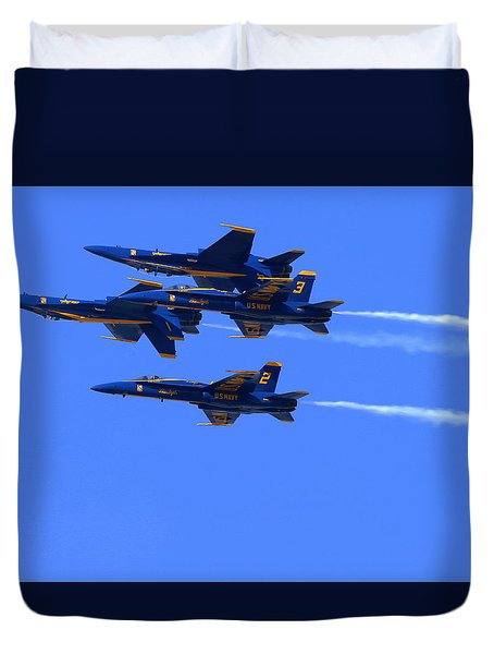 Duvet Cover featuring the photograph Blue Angels Perform Over San Francisco Bay by John King