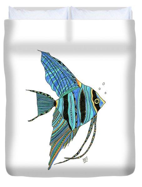 Blue Anglefish Duvet Cover