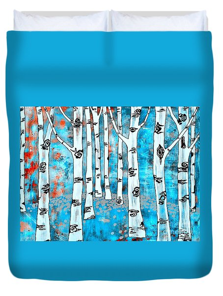 Duvet Cover featuring the painting Blue Aspen Tree by Amy Sorrell