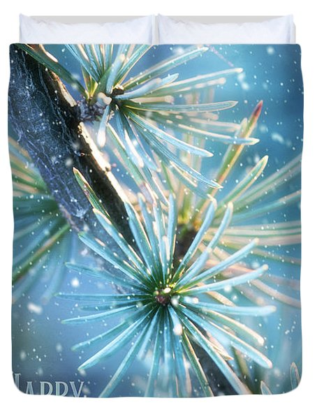 Blue Atlas Cedar Winter Holiday Card Duvet Cover