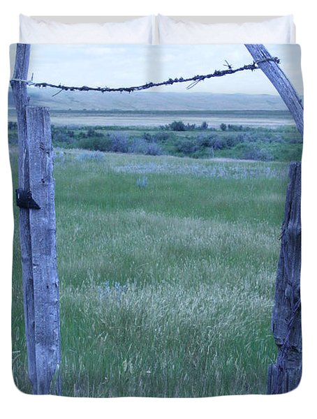 Duvet Cover featuring the photograph Blue Barbwire by Mary Mikawoz