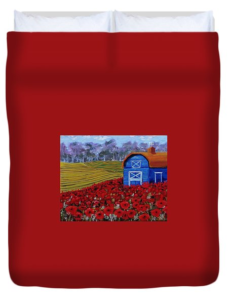 Blue Barn In Red Poppy Field Duvet Cover