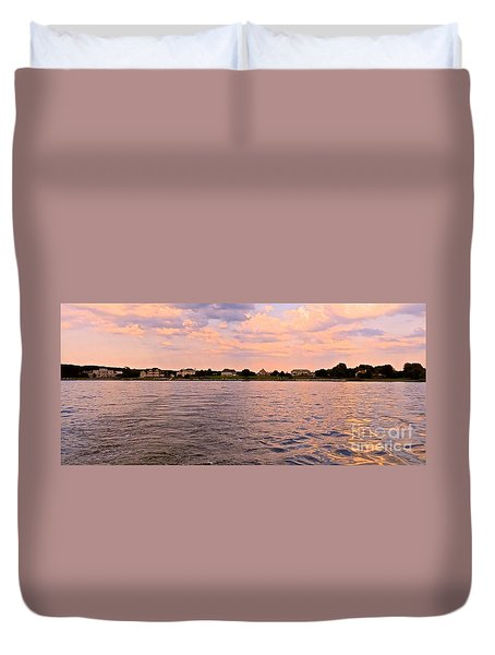 Blue Bay At Sunset  Duvet Cover