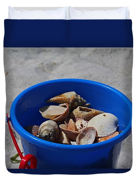 Duvet Cover featuring the photograph Blue Beach Bucket by Michiale Schneider