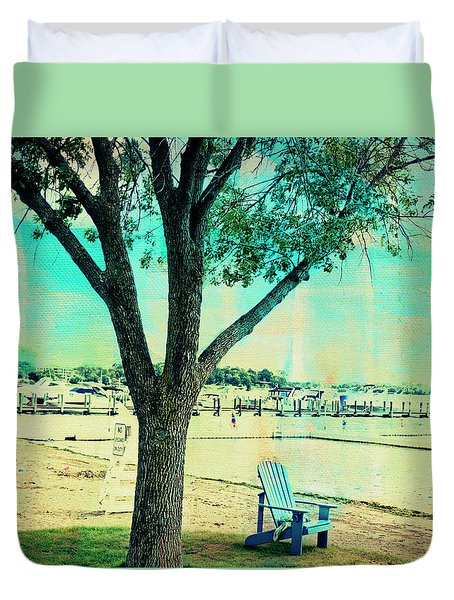 Duvet Cover featuring the photograph Blue Beach Chair by Susan Stone