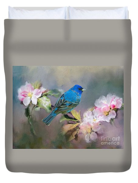 Blue Beauty In The Flowers Duvet Cover